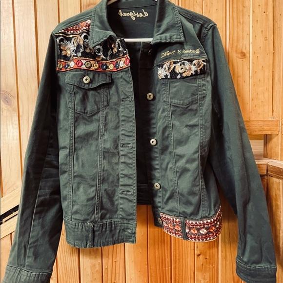 Desigual khaki denim/canvas jacket size 44